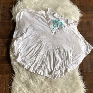 Free People XS White Batwing Sleeve Cropped Tee